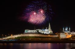 Fireworks over Kremlin in Kazan Stock Image