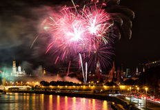 Fireworks over Kremlin in Moscow Royalty Free Stock Image