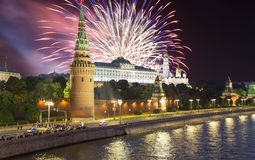 Fireworks over the Kremlin, Moscow, Russia--the most popular view of Moscow.  stock image