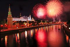 Fireworks over Kremlin in the night Stock Photography