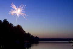 Fireworks over the lake Stock Image