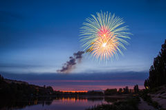 Fireworks Over Lake at Night. Stock Image