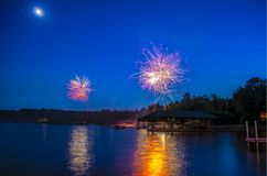 Fireworks over Lake Winnepesauke royalty free stock photography