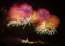 Fireworks over Liberty statue in Budapest. Hungary stock image