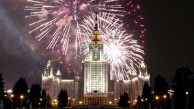 Fireworks over the Lomonosov Moscow State University, main building, Russia.  stock footage