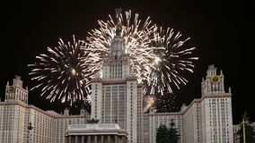 Fireworks over the Lomonosov Moscow State University, main building, Russia.  stock video footage