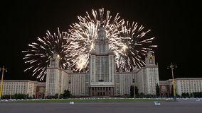 Fireworks over the Lomonosov Moscow State University, main building, Russia.  stock video