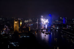 Fireworks over London Eye and Westminster Stock Photo