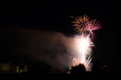 Fireworks over the Loretto Church Royalty Free Stock Photos