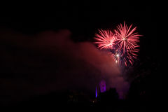 Fireworks over the Loretto Church Royalty Free Stock Photo