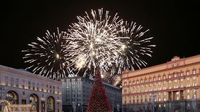 Fireworks over the Lubyanskaya Lubyanka Square in the evening, Moscow, Russia stock video footage