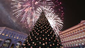 Fireworks over the Lubyanskaya Lubyanka Square in the evening, Moscow, Russia stock footage