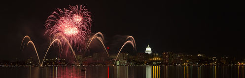 Fireworks over Madison, Wisconsin state capital and Lake Monona Royalty Free Stock Image