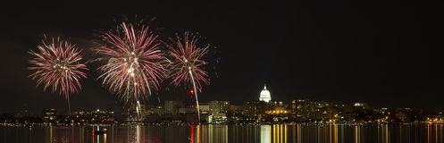 Fireworks over Madison, Wisconsin state capital and Lake Monona Royalty Free Stock Images