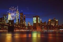 Fireworks over Manhattan, New York City. stock image