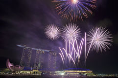 Fireworks over Marina Bay Sands. Fireworks over Marina Bay Hotel and Resort during during Singapore National Day Parade 2011 Stock Image