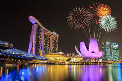 Fireworks over Marina bay Royalty Free Stock Photos