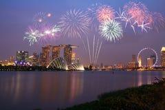 Fireworks over Marina bay Stock Image