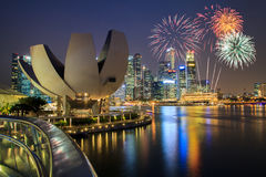 Fireworks over Marina bay Royalty Free Stock Image