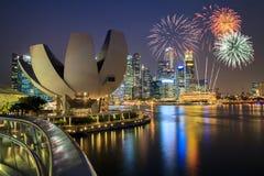 Fireworks over Marina bay Royalty Free Stock Image