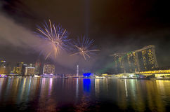 Fireworks over Marina Bay during Singapore National Day Parade 2012 Combined Rehearsal Stock Photos