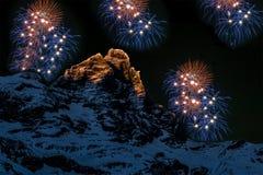 Fireworks over the Matterhorn Royalty Free Stock Image