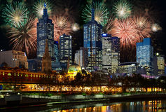 Fireworks over Melbourne city Royalty Free Stock Photography