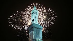 Fireworks over the Monument to Pushkin, Moscow city center. Russia stock video