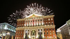 Fireworks over the Moscow city center and Government building on Tverskaya street, Russia.  stock video footage