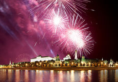 Fireworks over the Moscow Kremlin and the Moscow river. Moscow, Russia Royalty Free Stock Images