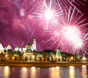Fireworks over the Moscow Kremlin and the Moscow river. Moscow, Russia Royalty Free Stock Image