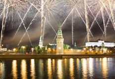 Fireworks over the Moscow Kremlin and the Moscow river. Moscow, Russia Royalty Free Stock Photos