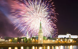 Fireworks over the Moscow Kremlin and the Moscow river. Moscow, Russia Stock Images