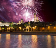 Fireworks over the Moscow Kremlin and the Moscow river. Moscow, Russia Stock Image