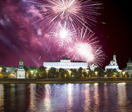 Fireworks over the Moscow Kremlin and the Moscow river. Moscow, Russia Stock Photos