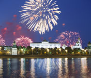 Fireworks over the Moscow Kremlin and the Moscow river. Moscow, Russia Stock Photography