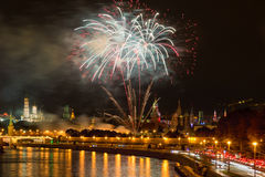 Fireworks over the Moscow Kremlin at night Stock Images