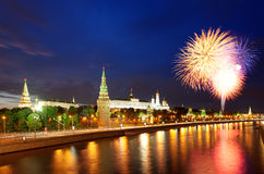 Fireworks over the Moscow Kremlin Stock Photo