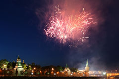 Fireworks over the Moscow Kremlin. Russia Royalty Free Stock Image