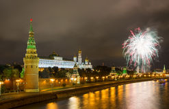 Fireworks over Moscow Kremlin Royalty Free Stock Image