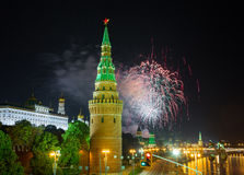 Fireworks over the Moscow Kremlin Royalty Free Stock Photo