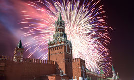 Fireworks over the Moscow Kremlin, Russia Royalty Free Stock Photo