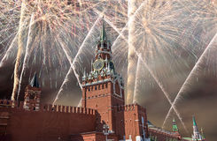 Fireworks over the Moscow Kremlin, Russia Stock Photos