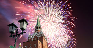 Fireworks over the Moscow Kremlin, Russia Royalty Free Stock Image