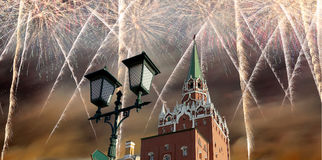 Fireworks over the Moscow Kremlin, Russia Royalty Free Stock Images