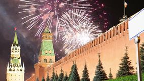 Fireworks over the Moscow Kremlin, Russia stock footage