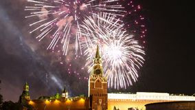 Fireworks over the Moscow Kremlin, Russia stock video
