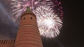Fireworks over the Moscow Kremlin, Russia stock video footage