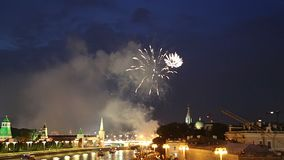 Fireworks over the Moscow near the Kremlin, Russia . stock video
