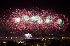 Fireworks over Moscow at nigh Royalty Free Stock Image